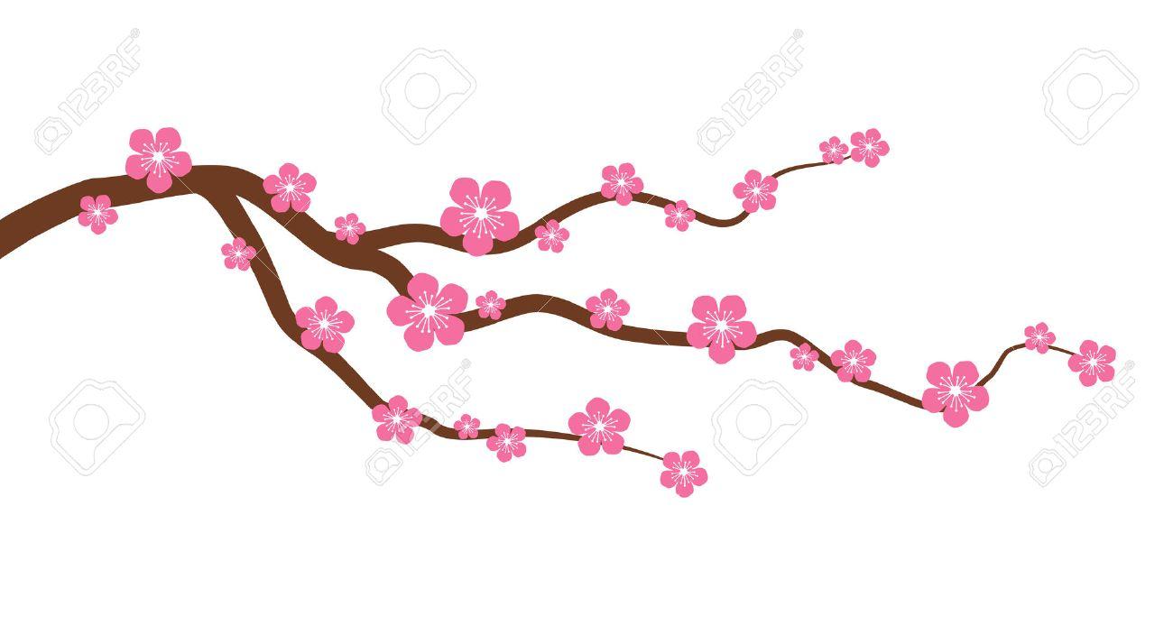 Melocotón O La Flor De Cerezo Rama De Un árbol Con Flores Gráfico