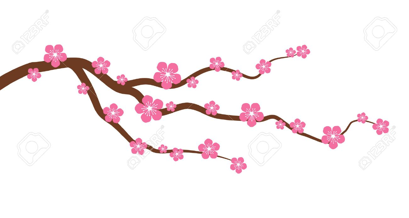 peach or cherry blossom tree branch with flowers flat vector rh 123rf com cherry blossom graphics images cherry blossom graphic art