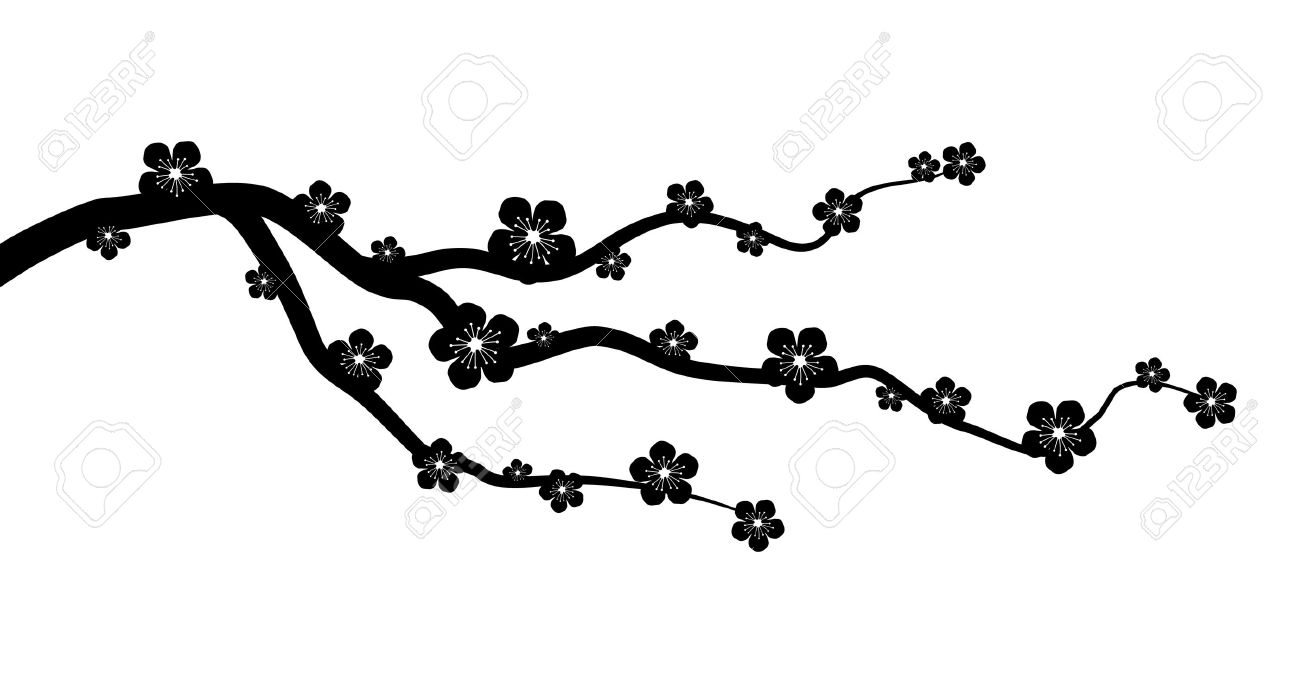 Peach Or Cherry Blossom Tree Branch With Flowers Flat Vector Graphic Stock
