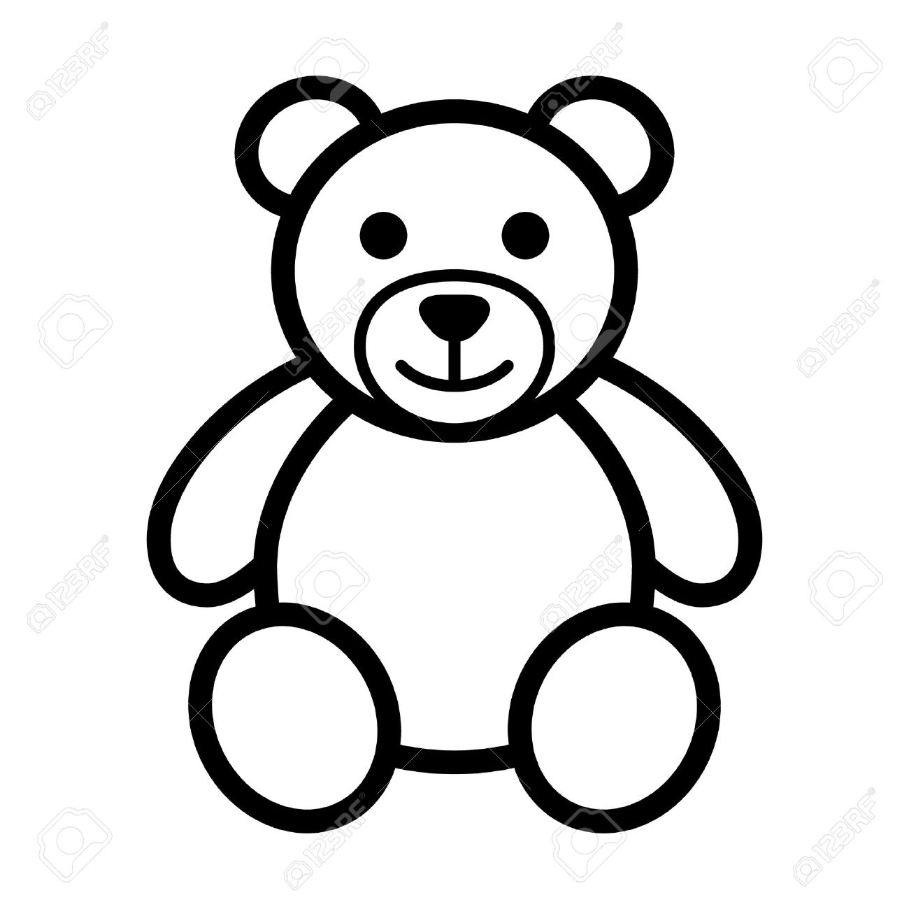 Teddy bear plush toy line art icon for apps and websites - 50016427