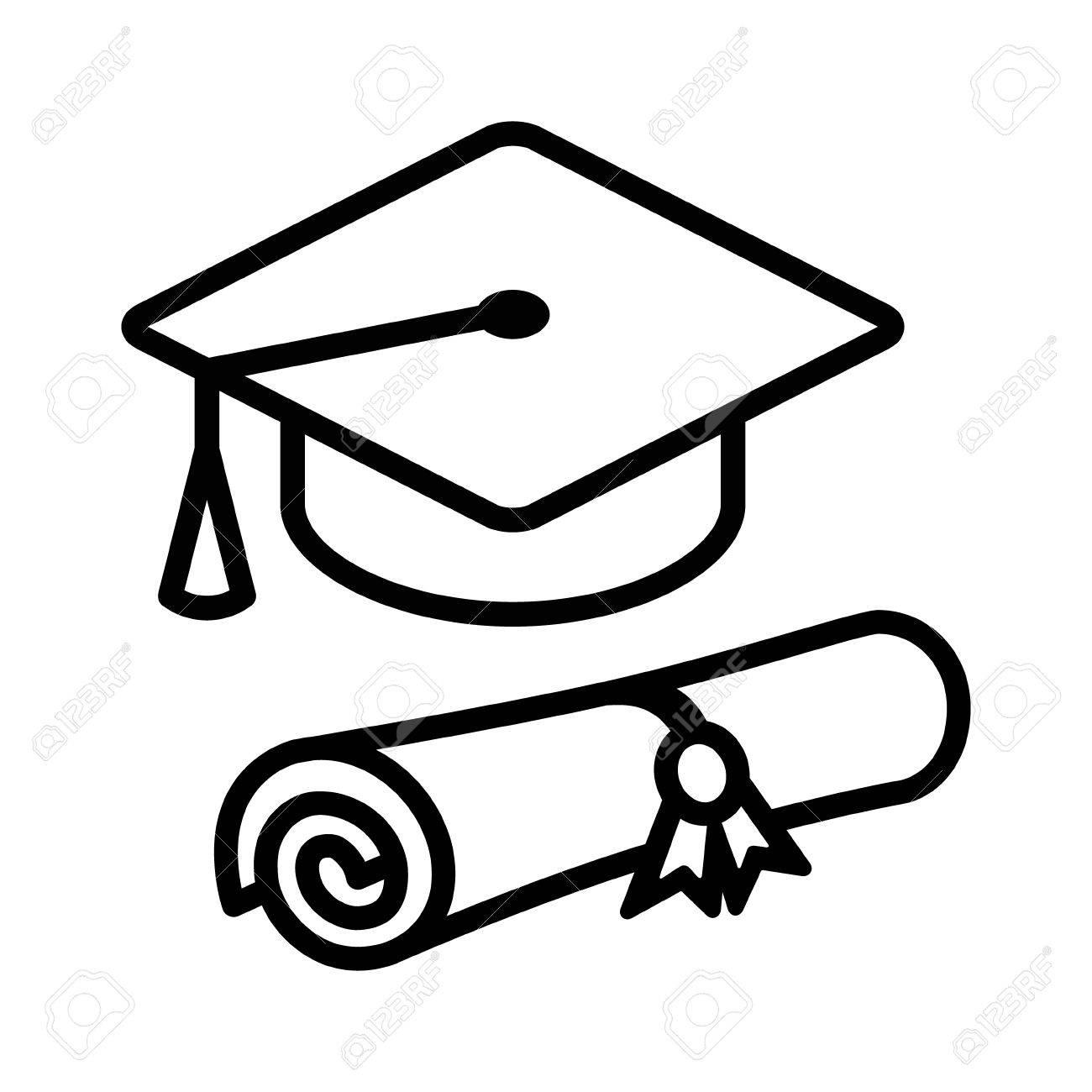 graduation cap hat with diploma line art icon for apps and websites rh 123rf com graduation cap and diploma clipart toga cap and diploma clipart