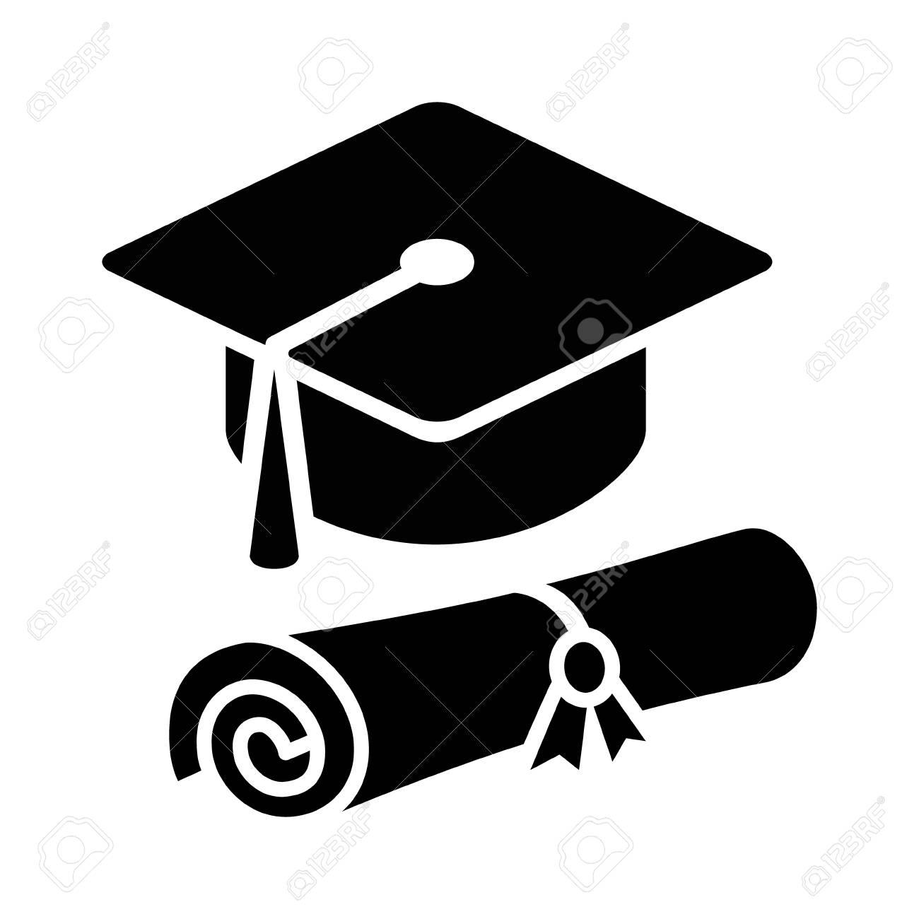 Foto de archivo - Sombrero gorro de graduación con el diploma icono plana  para aplicaciones y sitios web ed5370f4513