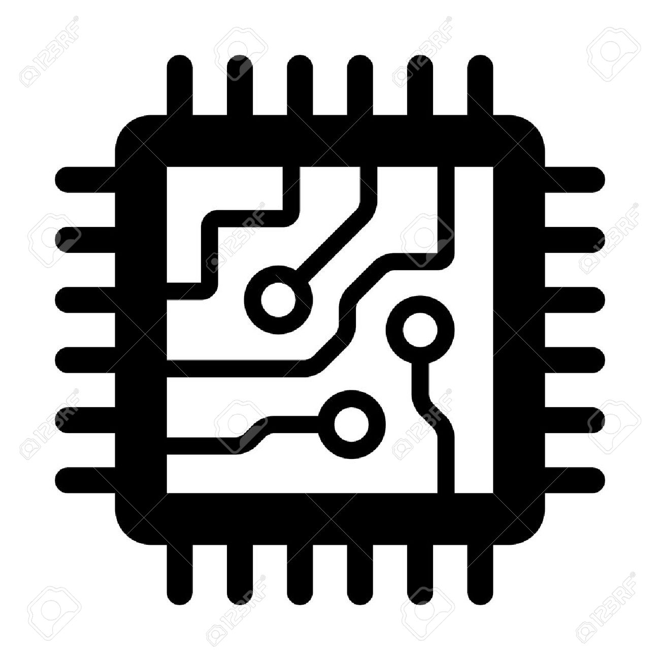 Computer Chip Circuit Board Flat Icon For Apps And Websites Royalty ...