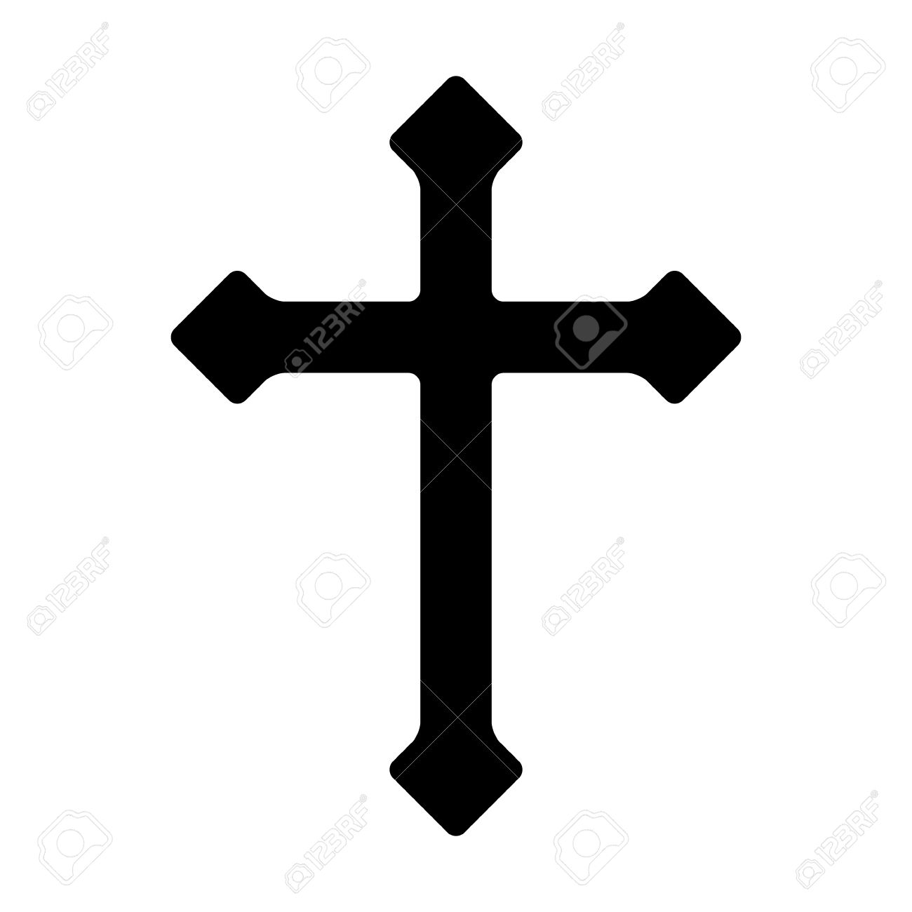 Decorative Christian Cross Symbol Of Christianity Flat Icon For