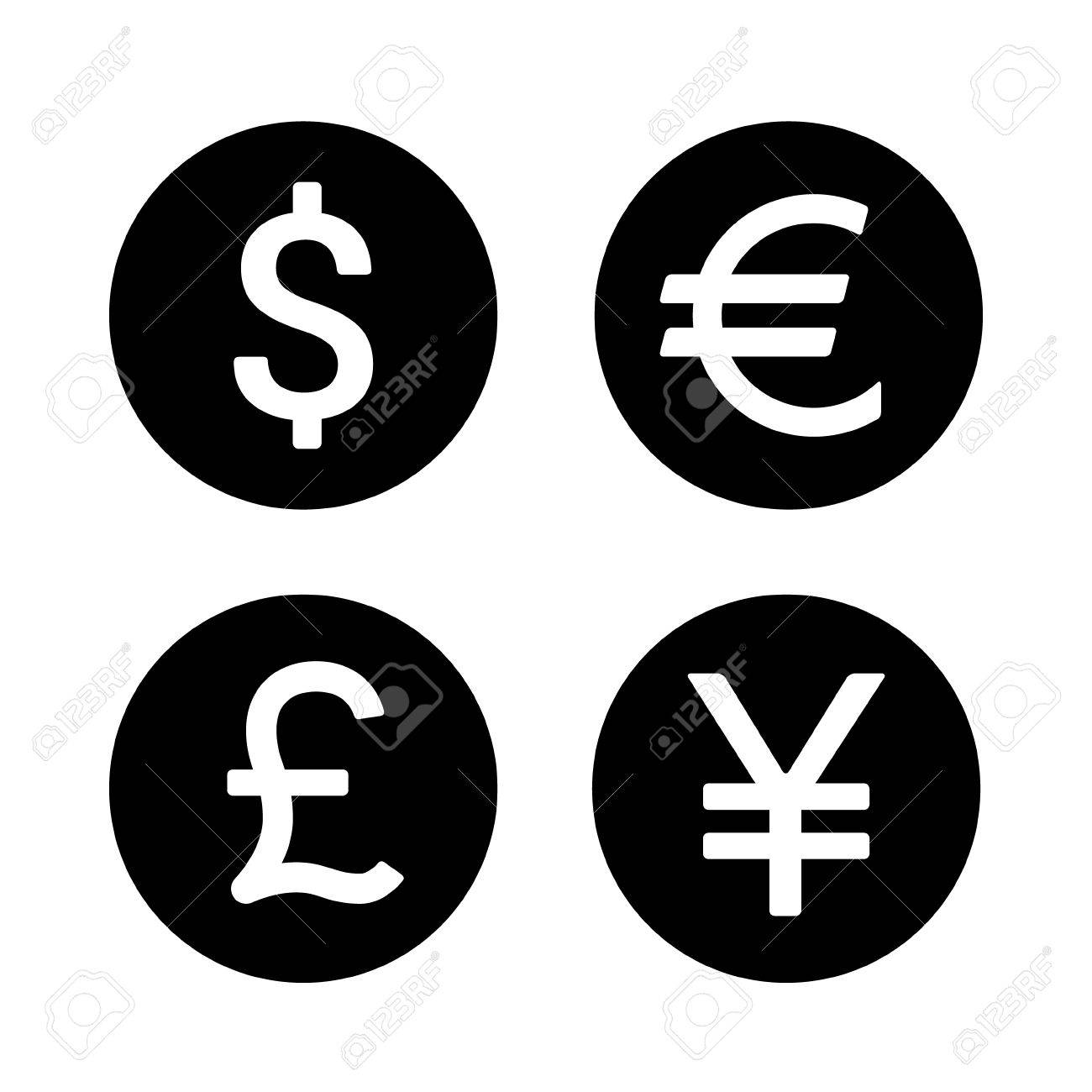 Dollar euro yen yuan and pound round currency exchange flat dollar euro yen yuan and pound round currency exchange flat icon for apps and buycottarizona Choice Image