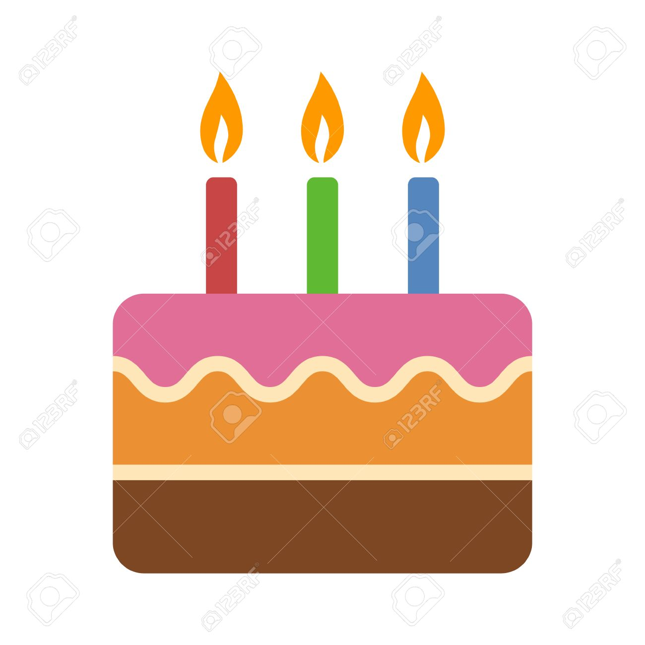 Layered Colorful Birthday Cake With Candles Flat Icon For Food