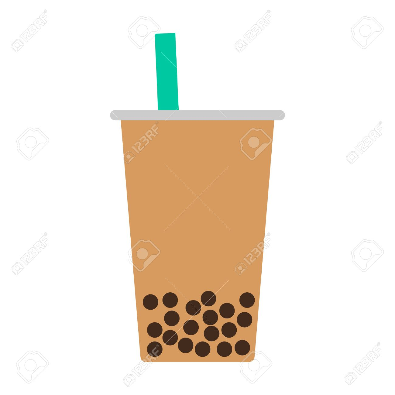 Bubble tea boba pearl milk tea flat color icon for food apps and websites - 50763091