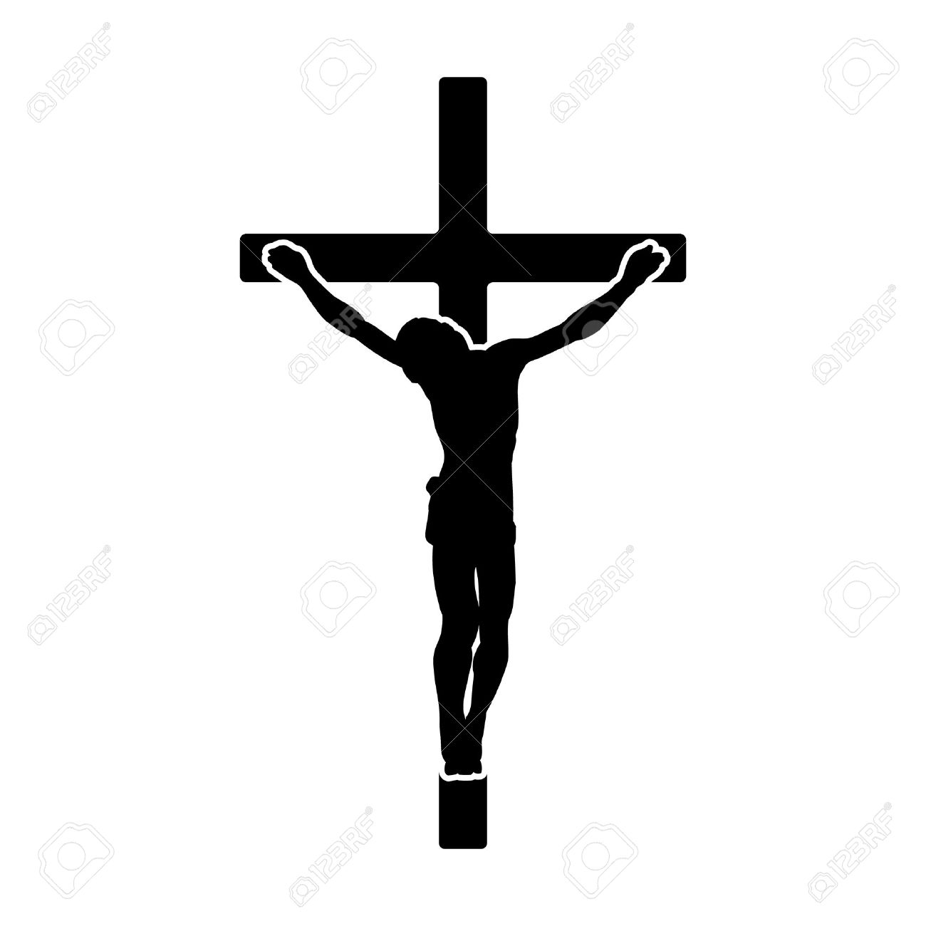 Crucifix crucifixion of Jesus Christ flat icon for religious apps and websites - 50764724