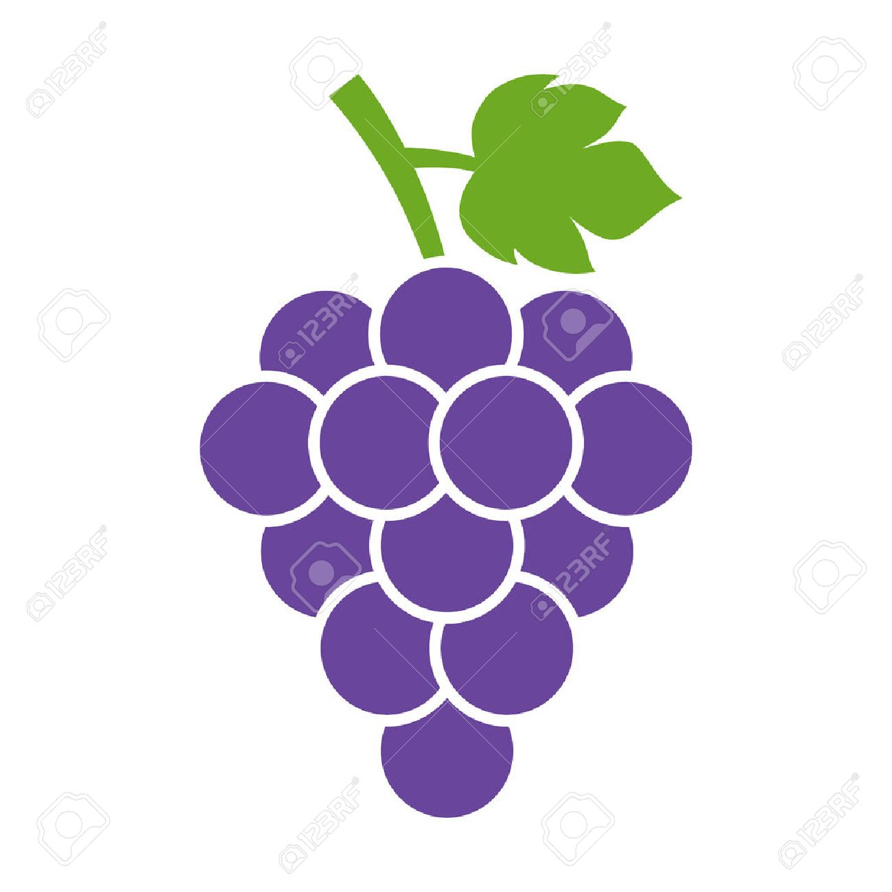 Bunch of wine grapes with leaf flat color icon for food apps and websites - 50897107