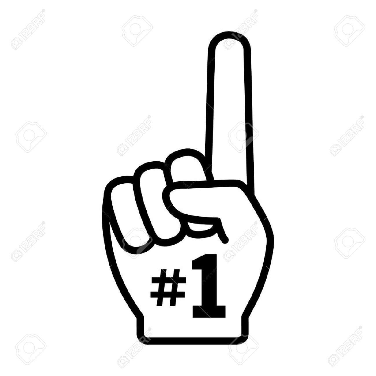number 1 one fan hand with finger raised flat vector icon royalty