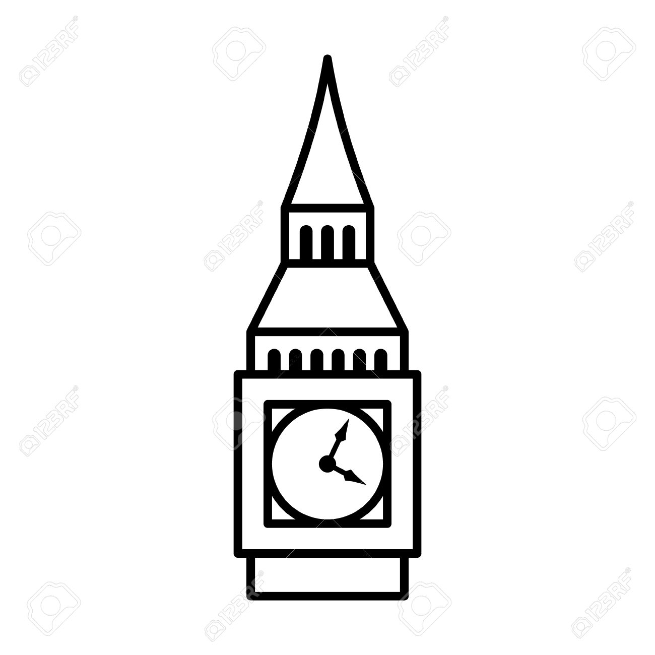 big ben clock tower elizabeth tower in london line art icon rh 123rf com big ben clipart black and white big ben london clipart free