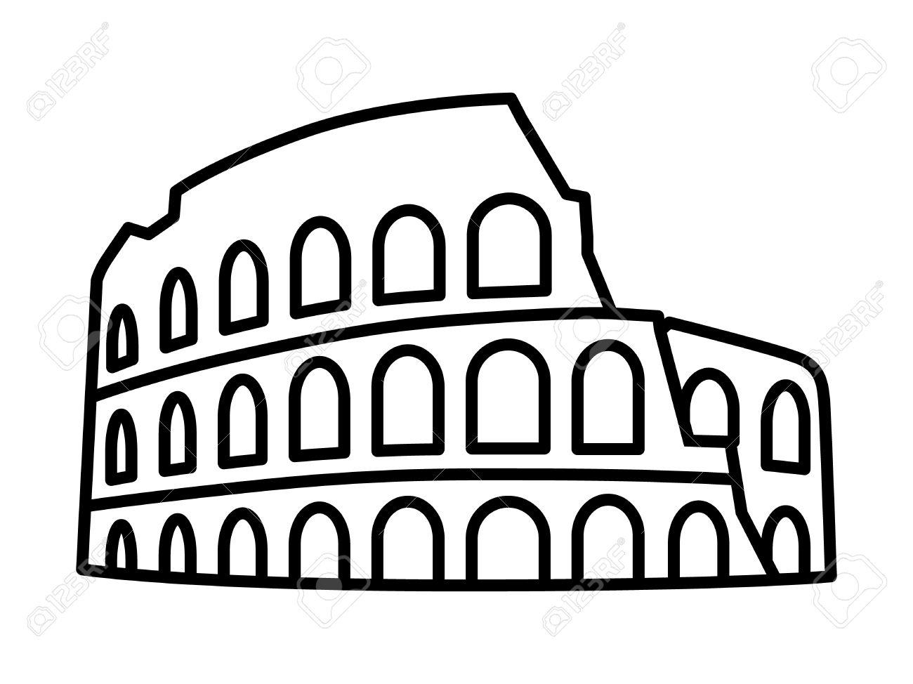 colosseum coliseum in rome italy line art icon for travel apps rh 123rf com