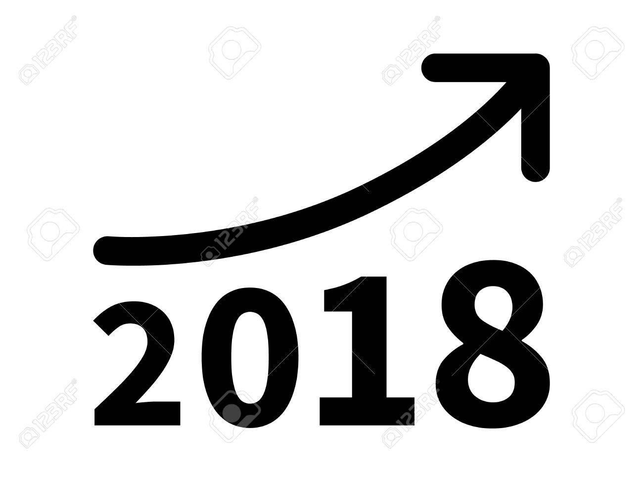 Wachstum Und Den Gewinn Steigern Umsatz Im Jahr 2018 Flach Symbol ...