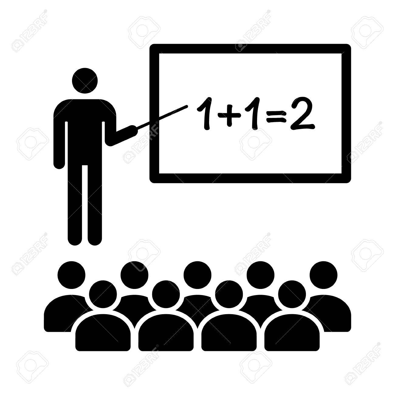 math teacher with stick in classroom with students flat icon