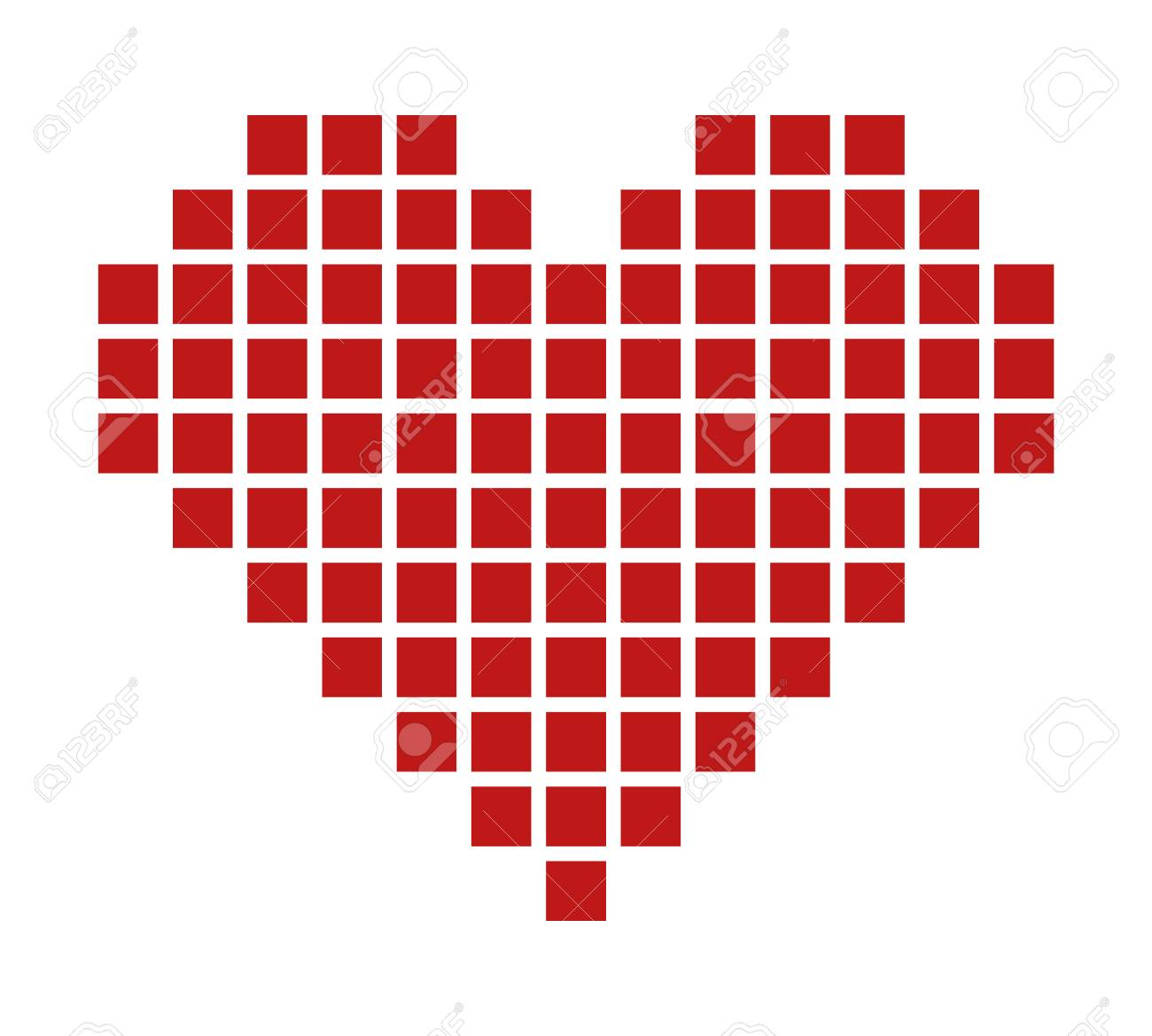 Pixel heart or pixelated heart flat red icon for apps and games