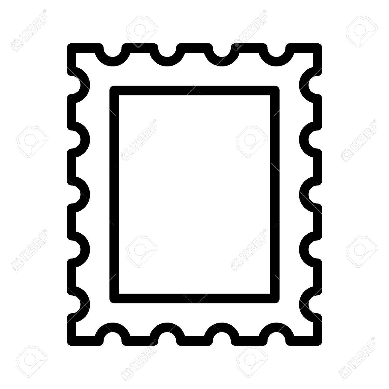 postage stamp or letter stamp line art icon royalty free cliparts