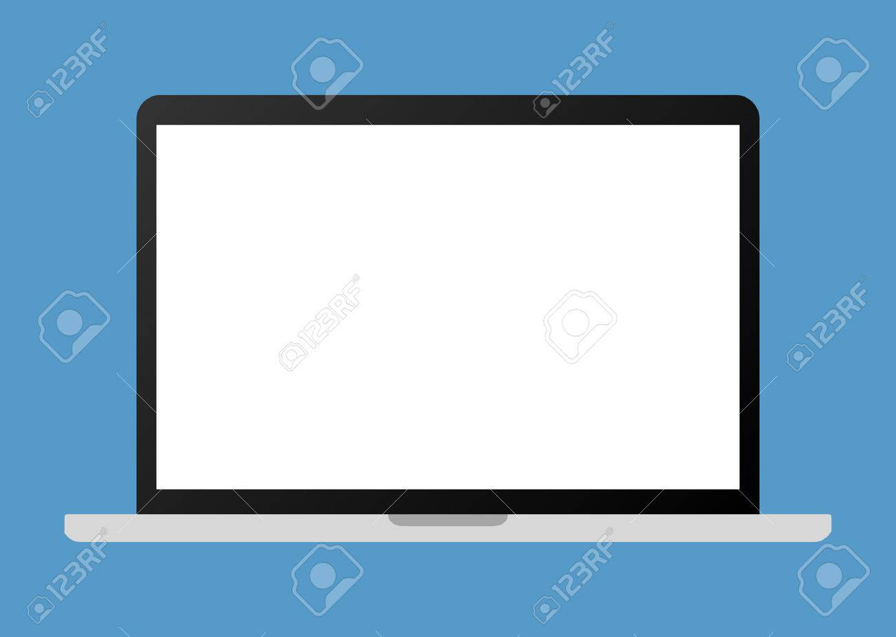 Portable laptop personal computer flat vector illustration for websites - 55731627