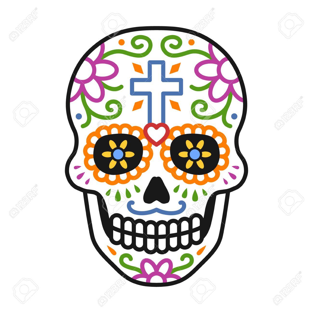 Decorada Cráneo Calavera Celebrar El Día De La Línea Dead Colorido