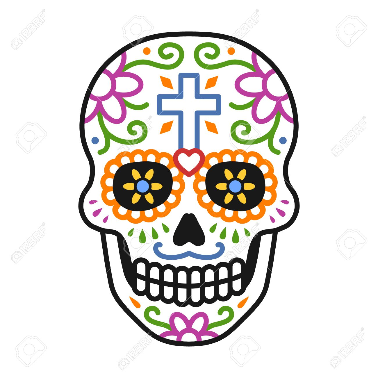 Decorated Skull Calavera Celebrating Day Of The Dead Line Colorful
