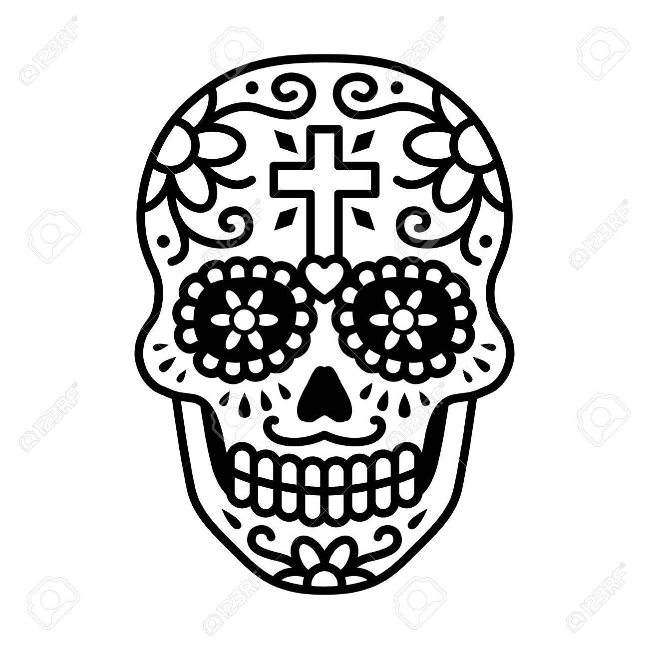 Calavera Decorada Celebrar El Día De Los Muertos Línea De Arte Del