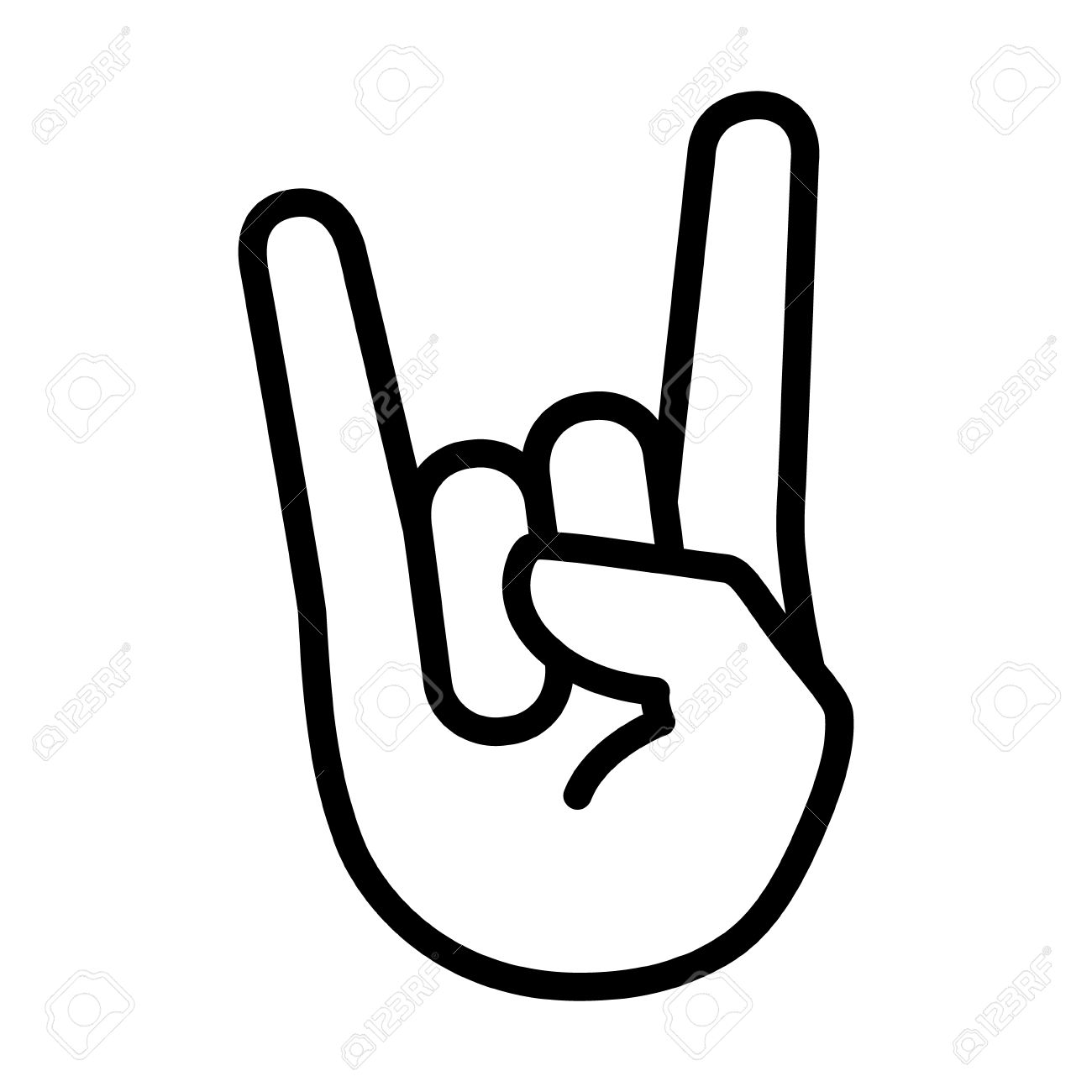 Rock & roll / heavy metal / sign of the horns line art icon for apps and websites - 57038613