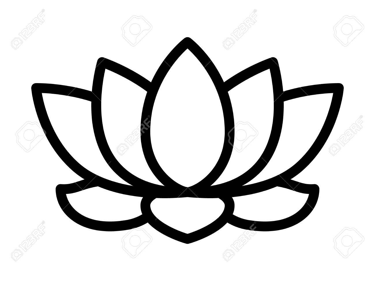 lotus flower blossom line art icon for apps and websites royalty rh 123rf com lotus clipart picture lotus clipart free