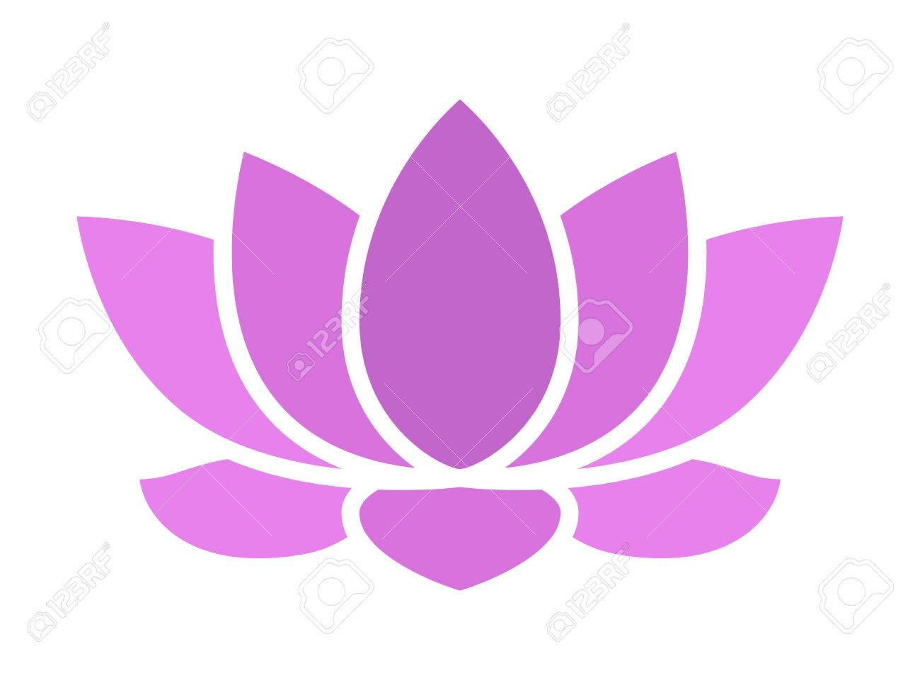 purple lotus flower blossom flat icon for apps and websites, Beautiful flower