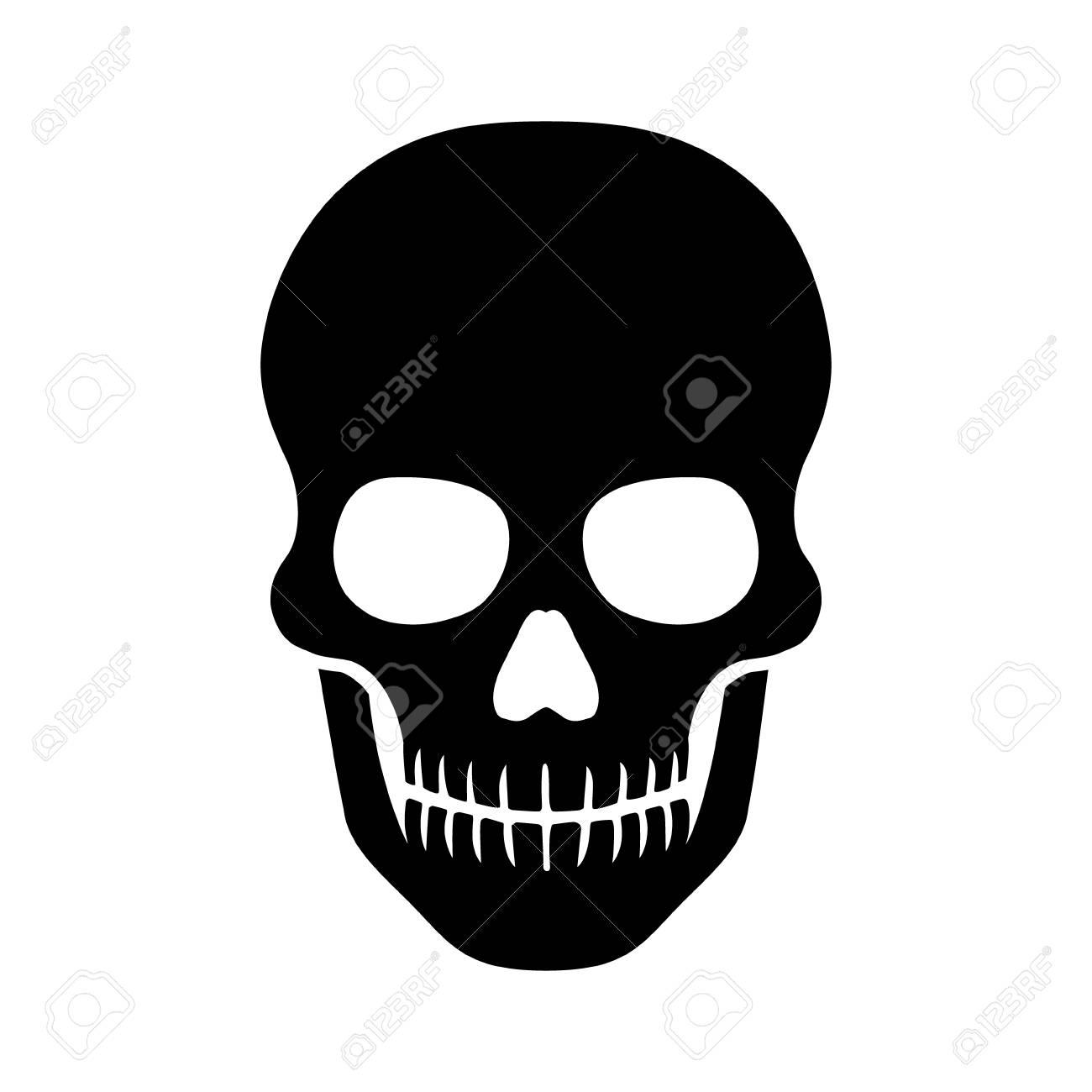 Totenschädel Oder Menschlicher Schädel Flach Symbol Für Spiele Und ...