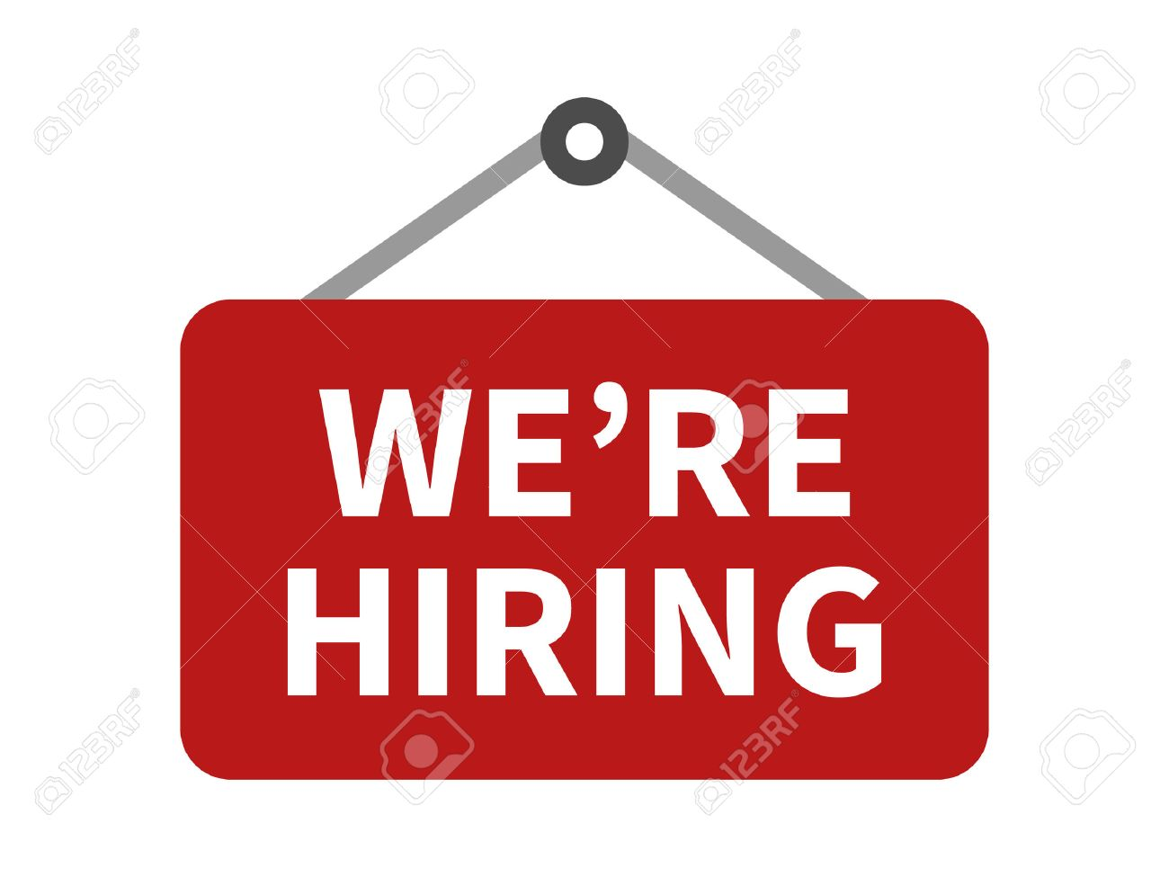 red we re we are now hiring sign flat icon for apps and websites