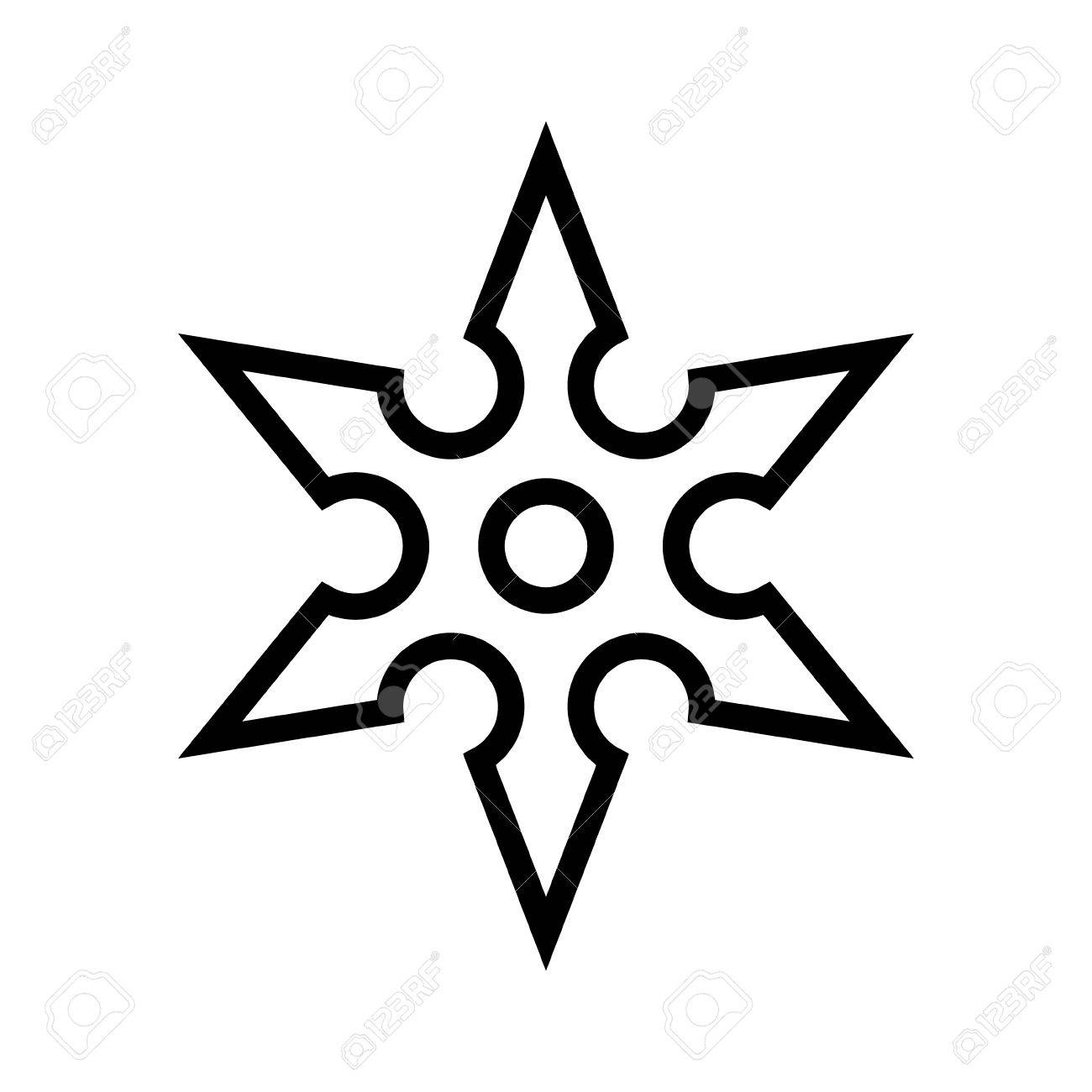 ninja shuriken throwing star line art icon for games and websites