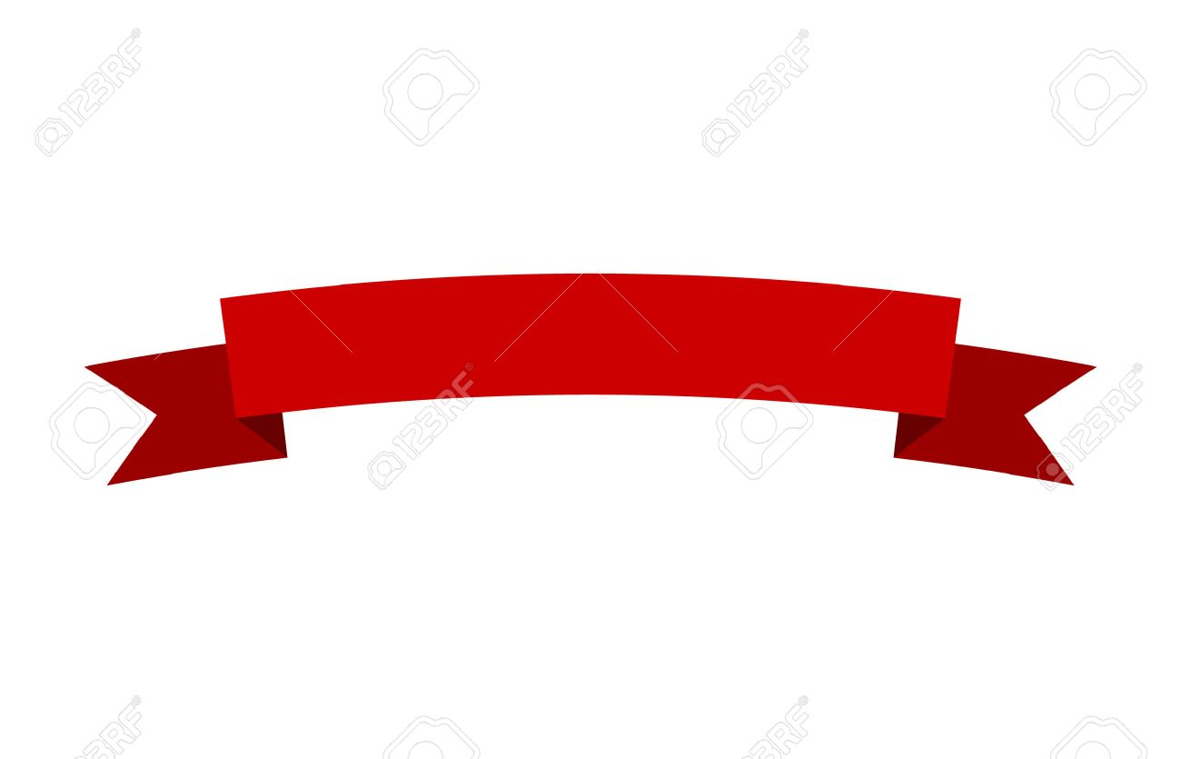 Curved red banner ribbon flat vector design for print and websites - 58321361