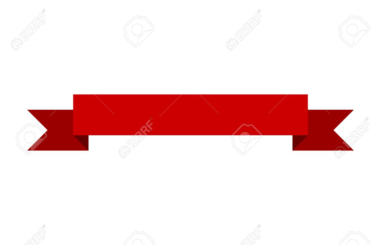 Red banner ribbon flat vector design for print and websites - 58321362