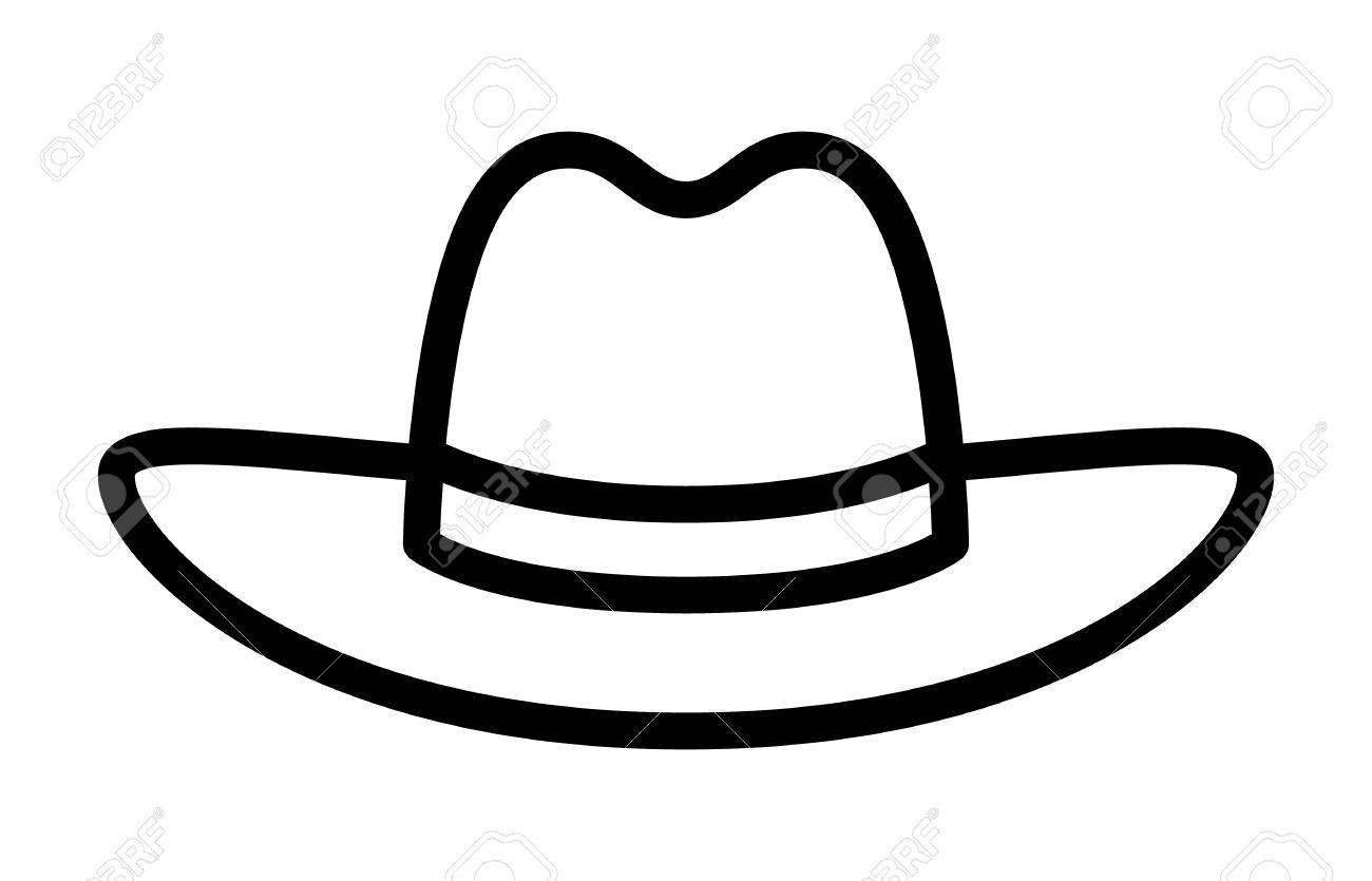 8ca066246dd52 Cowboy hat or stetson hat line art icon for apps and websites Stock Vector  - 58321375