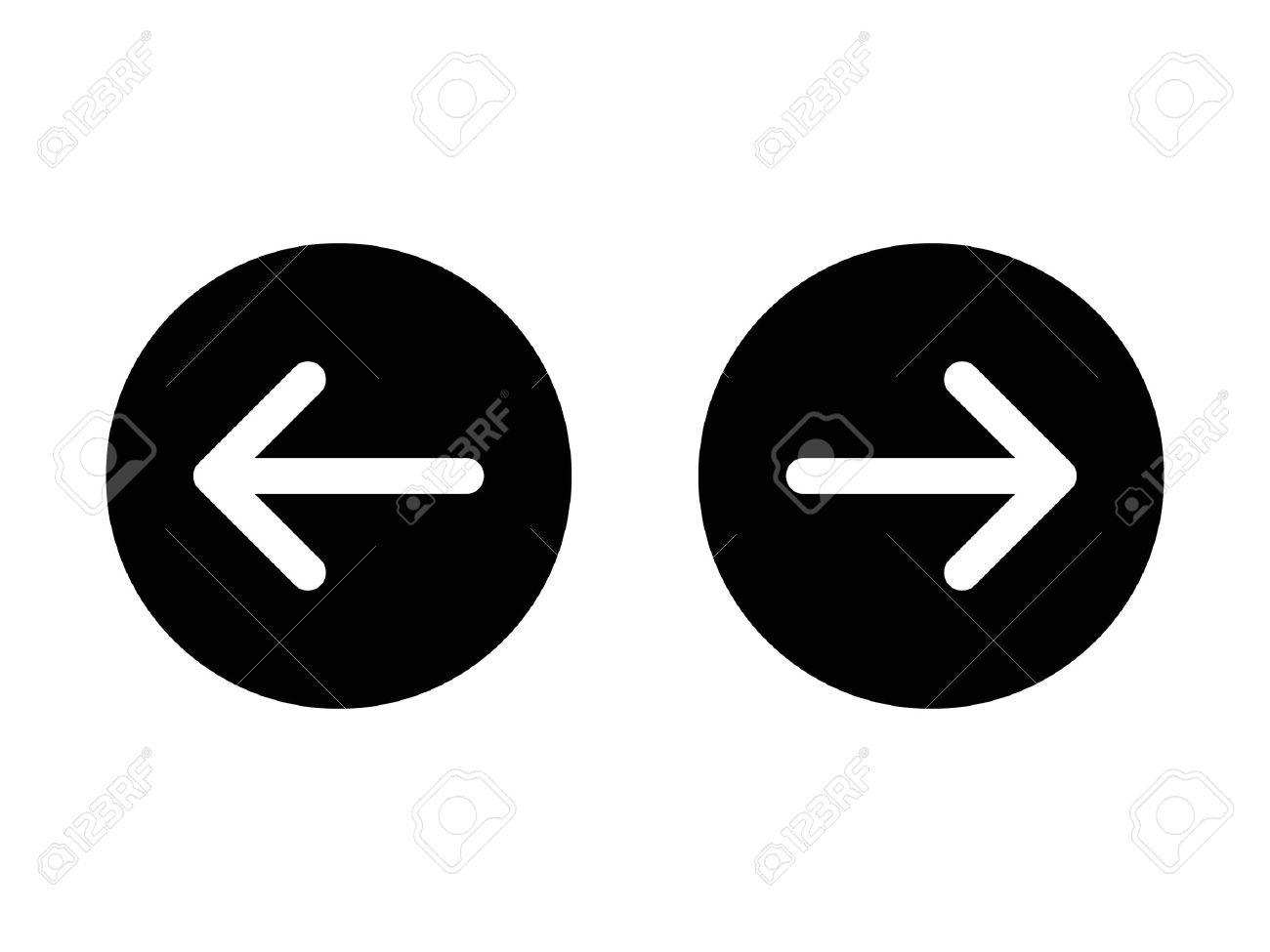 Left and right, previous and next or back and forth round arrows flat icon for apps and websites - 58944882
