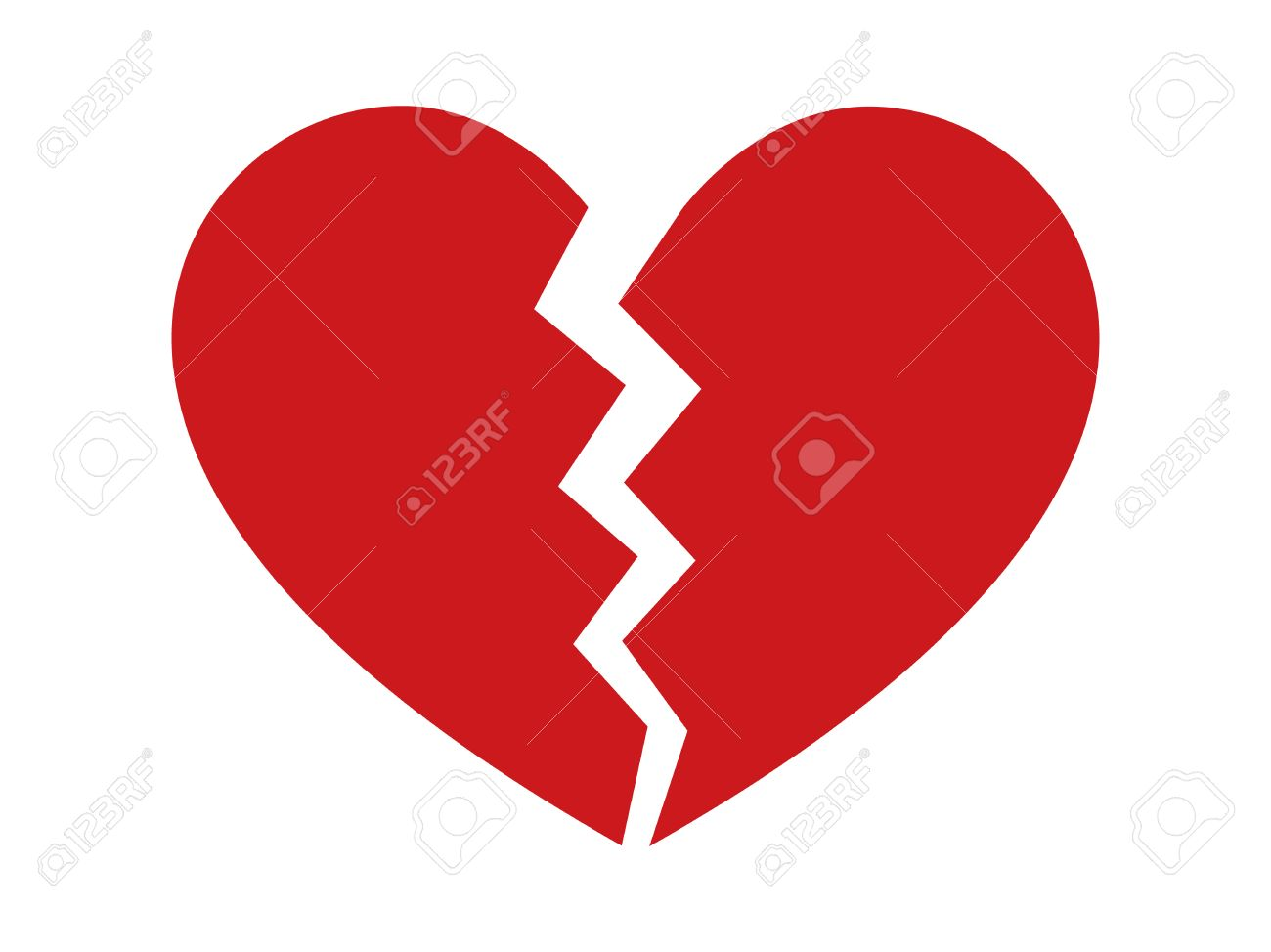 Red heartbreak / heart break or divorce flat icon for apps and websites - 58945132