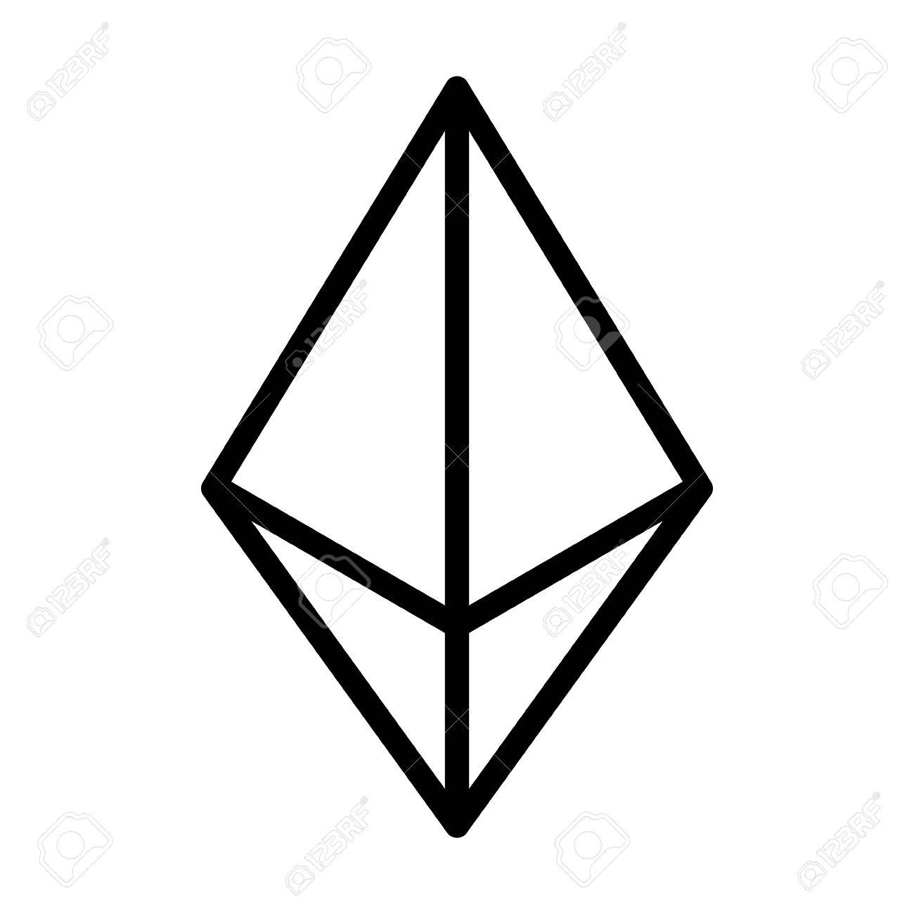 Ethereum crystal or ether cryptocurrency line art icon for apps