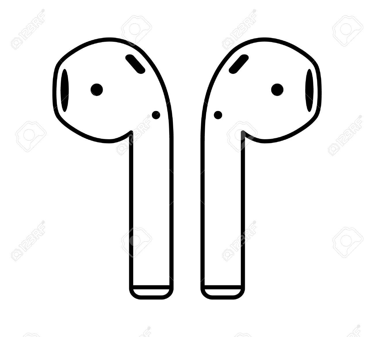 Airpods wireless headphones thin line art icon for apps and websites - 62747901
