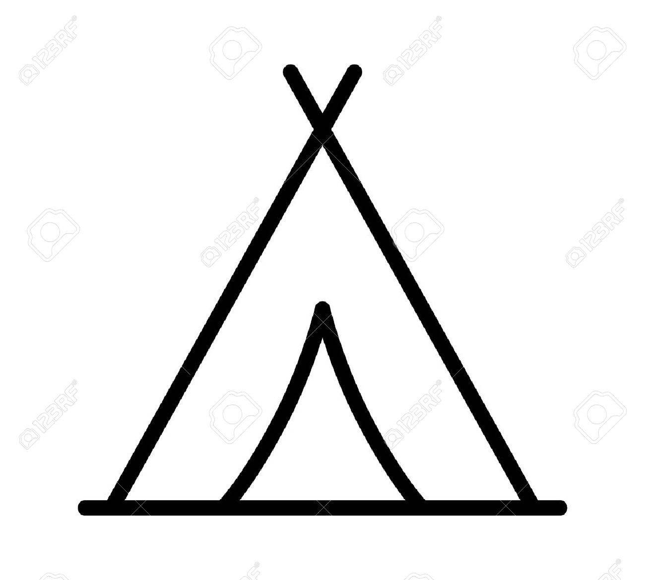 Camping Tent At Outdoor Camp Or Tipi / Teepee Line Art Icon For ...