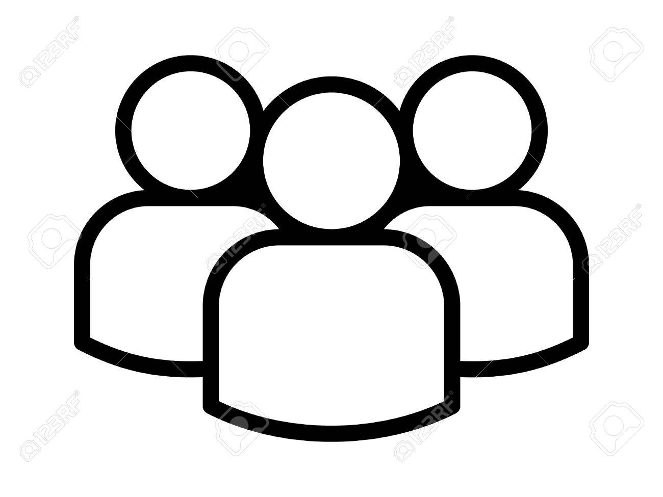 Group of people or group of users / friends line art icon for apps and websites - 66078470