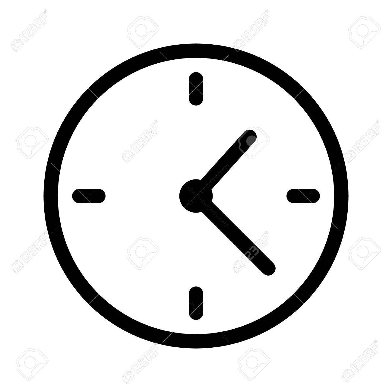 Simple Clock Face Clockface Or Watch Face With Hands Line Art