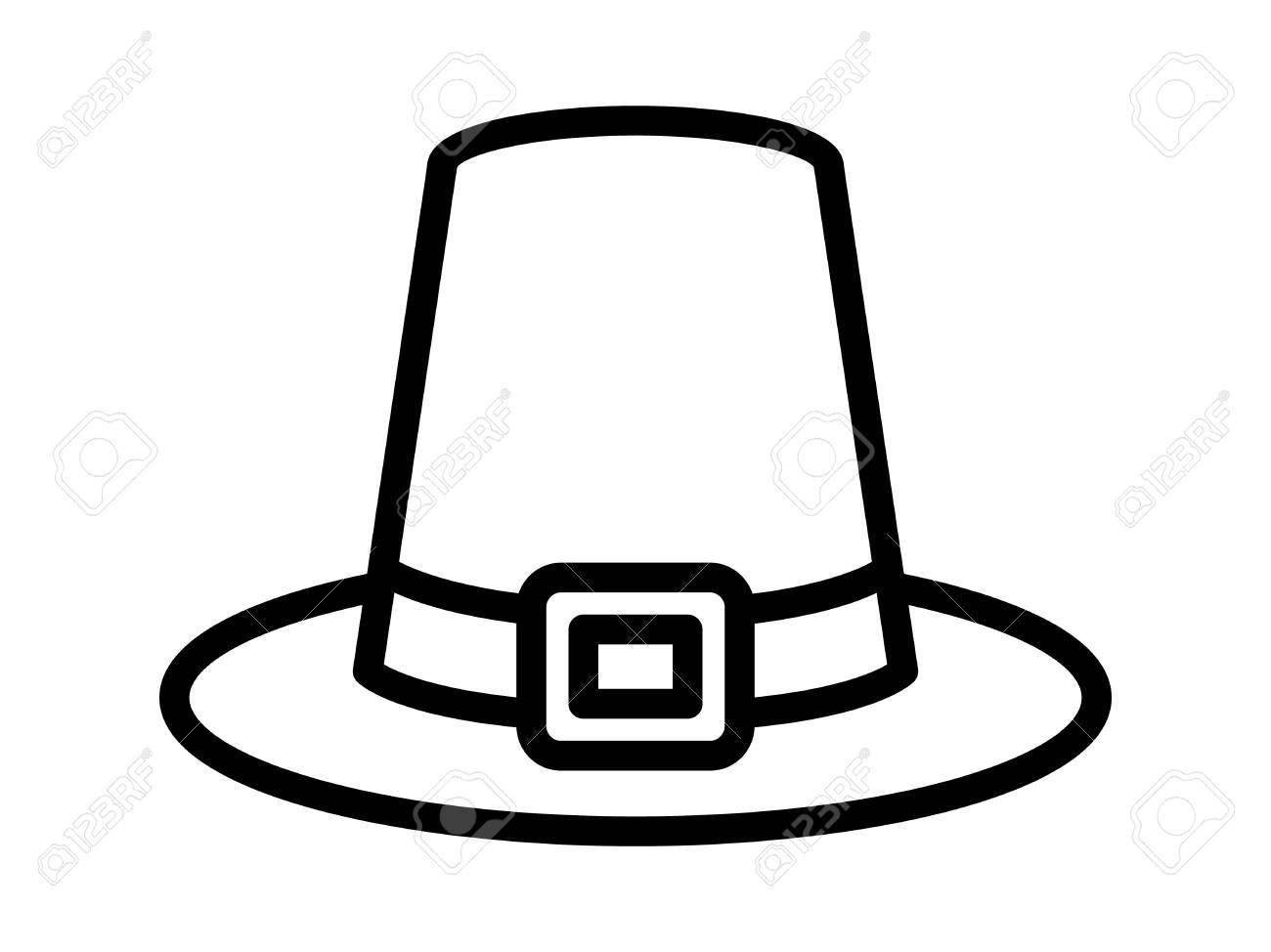 pilgrim hat on thanksgiving or capotain line art icon for apps rh 123rf com