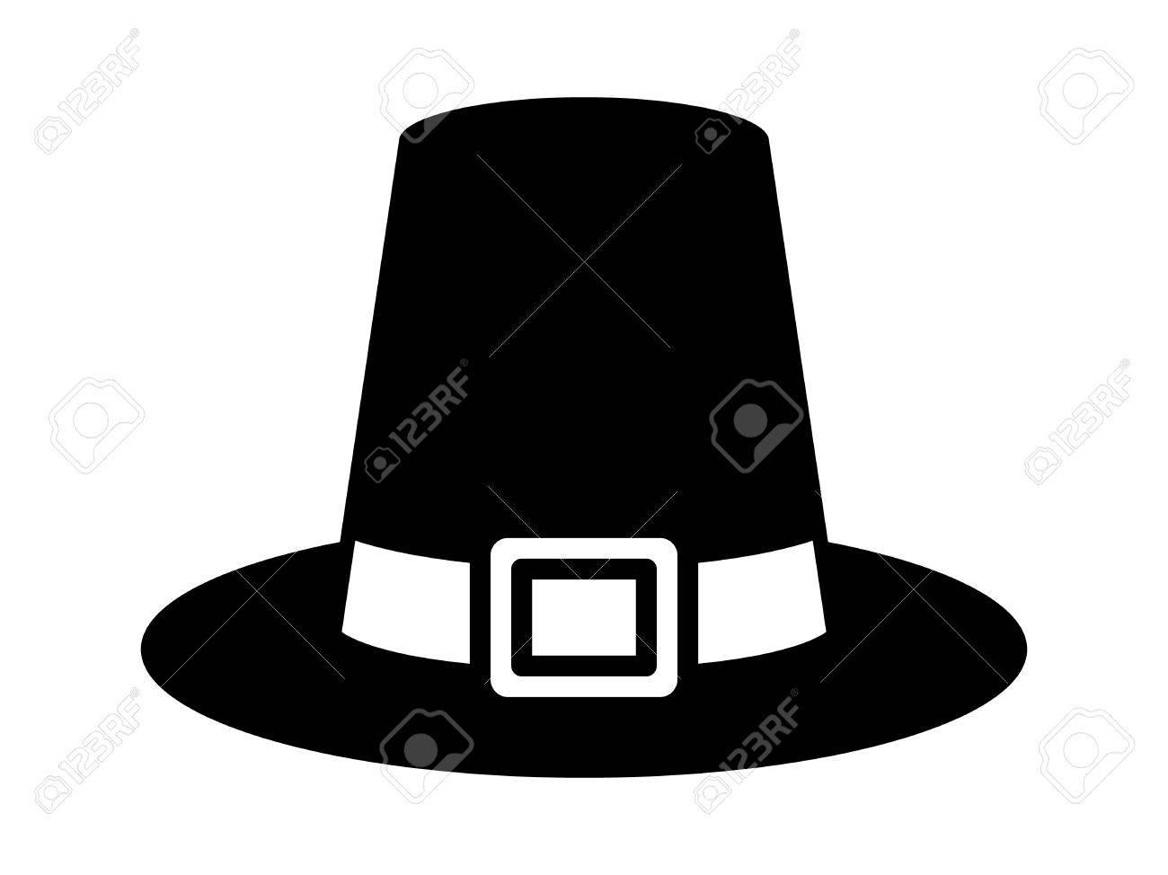 Sombrero De Peregrino En Acción De Gracias O Tricornio Icono Plana ...