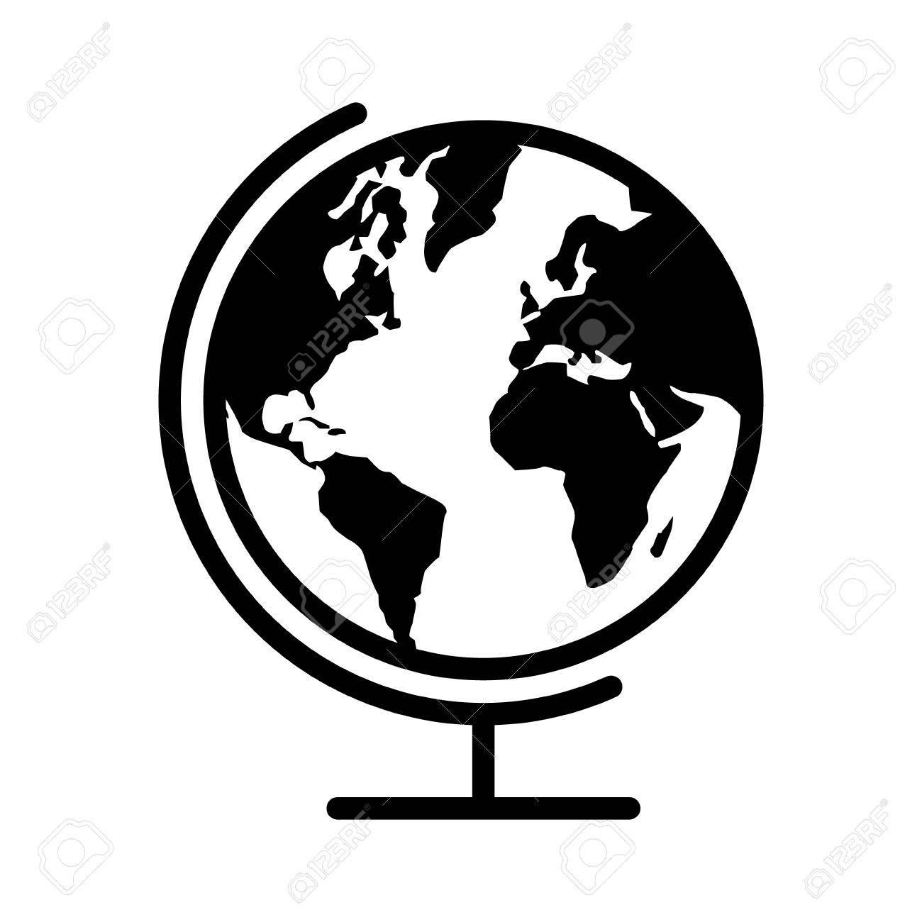 Carte Géographique Globe Avec La Planète Terre Icône Plat Pour Les