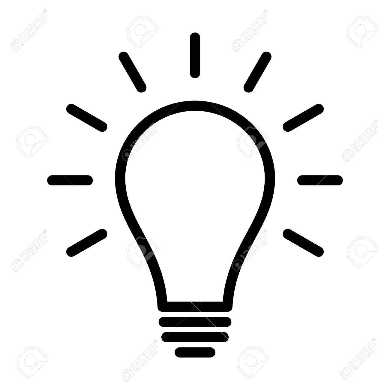Glühlampe / Glühbirne Eingeschaltet Oder Kunst Symbol Idee Linie Für ...