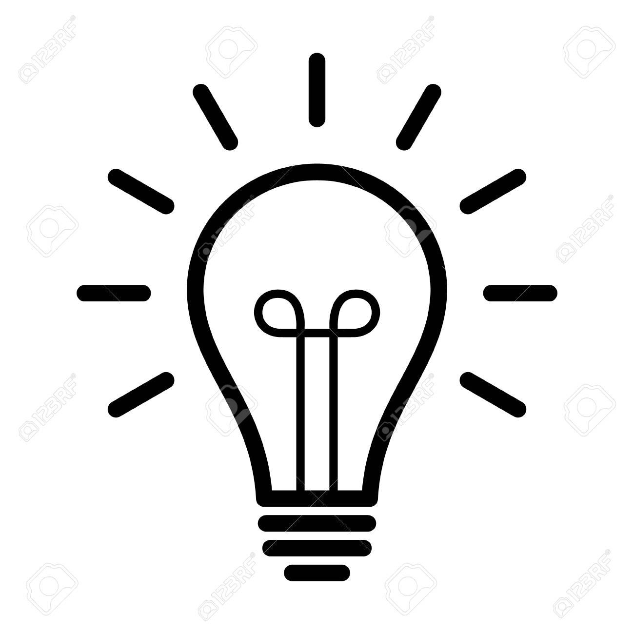 Vintage Light Bulb Lightbulb Turned On Or Idea Line Art Icon For Apps And Websites