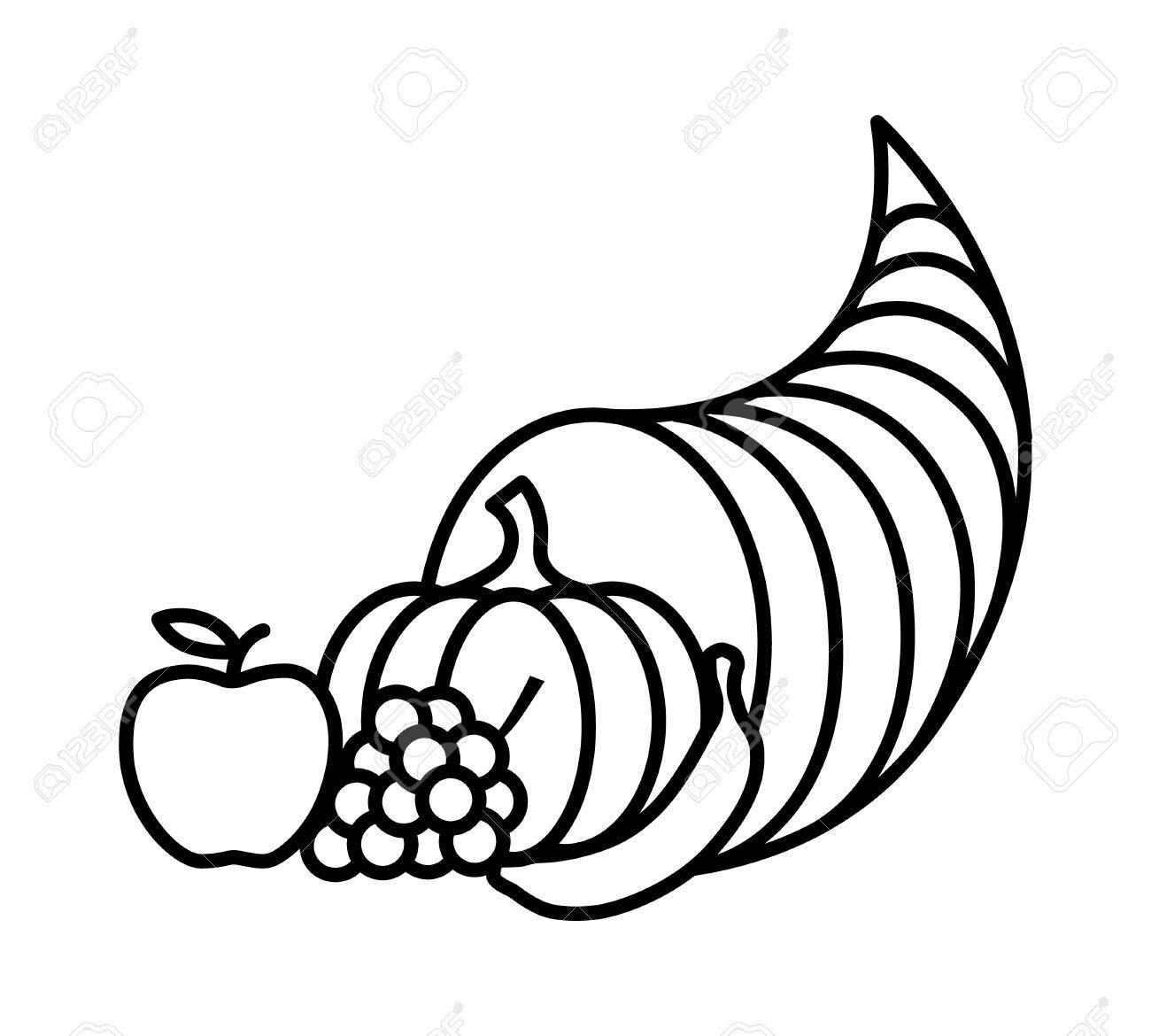 cornucopia horn of plenty or thanksgiving basket line art icon rh 123rf com