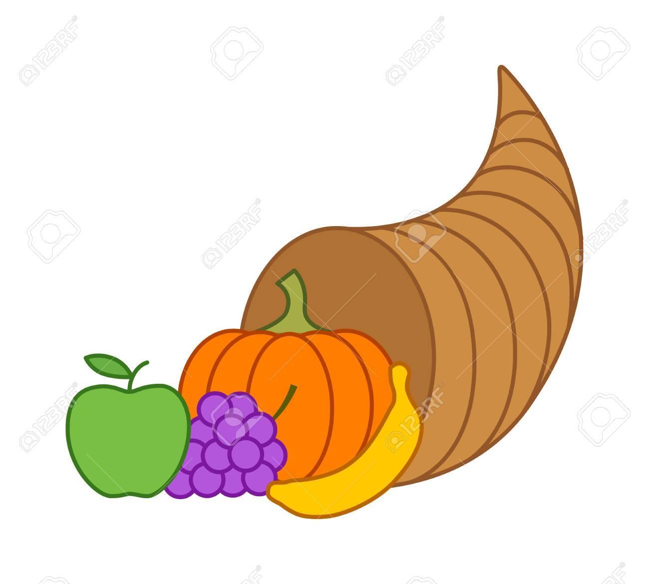 cornucopia horn of plenty or thanksgiving basket flat illustration rh 123rf com