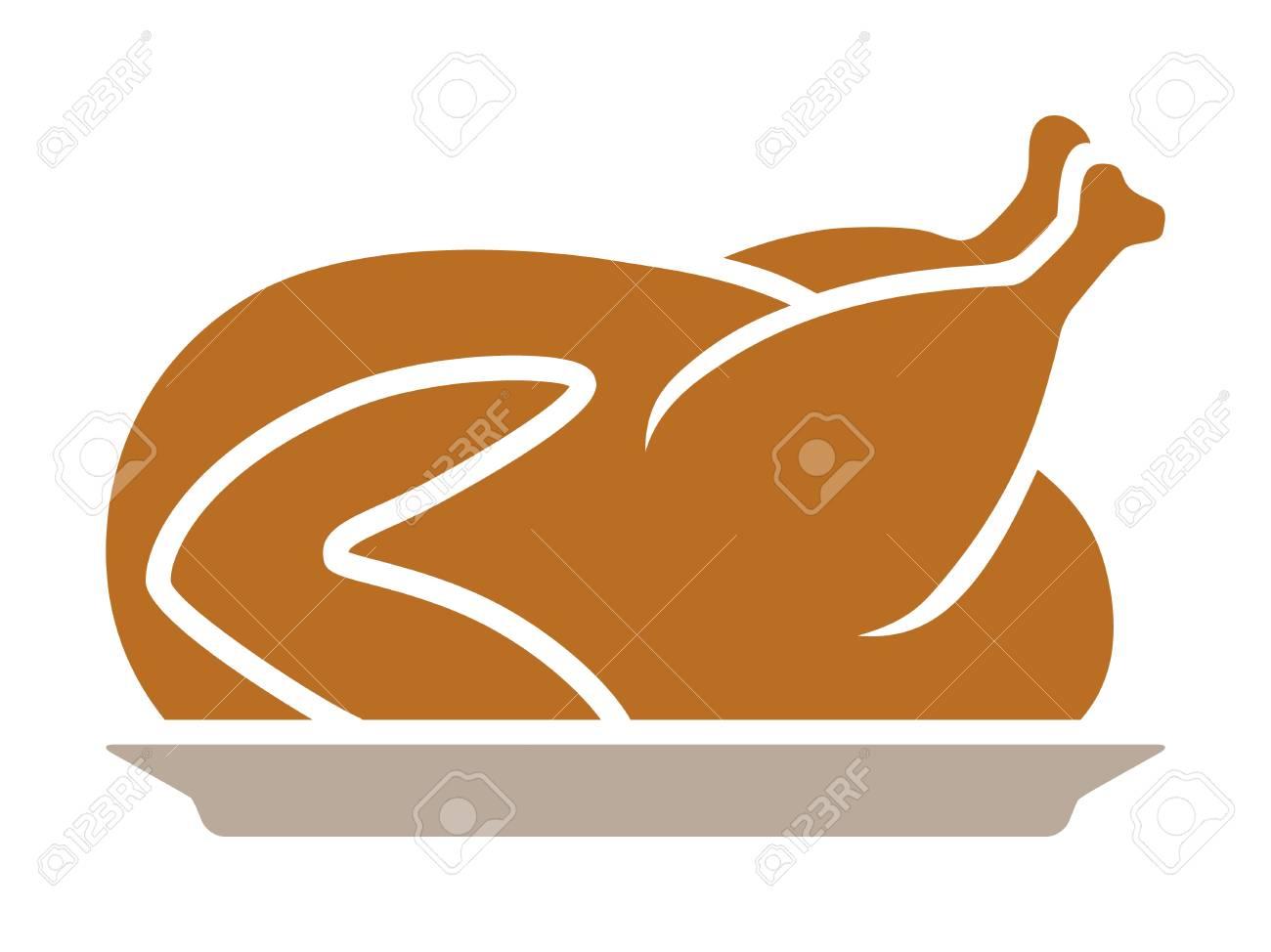 Thanksgiving-Truthahn Abendessen Auf Einem Teller Flach Farbsymbol ...