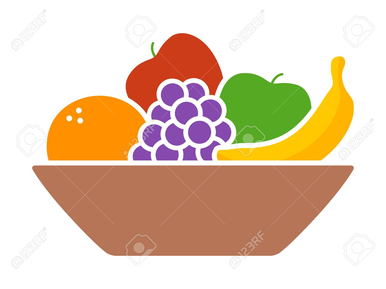 Bowl of fruit / fruits with orange, banana, grapes and apples flat colorful icon for apps and websites - 68703490