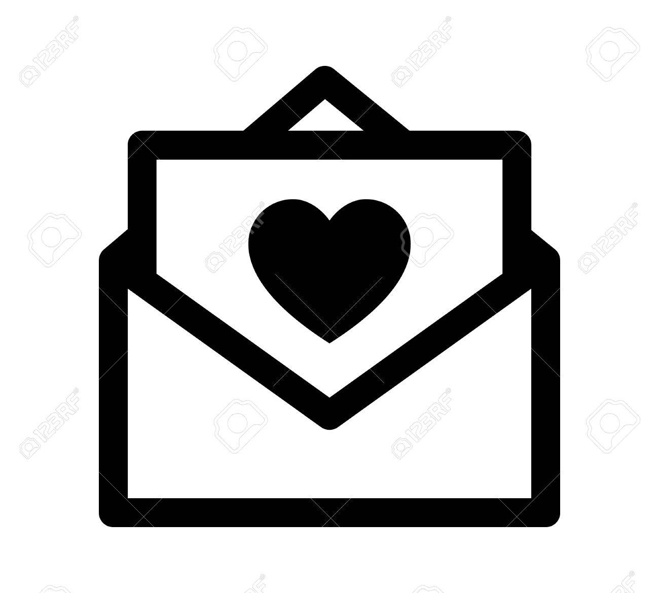 Love letter note or message with heart vector line art icon love letter note or message with heart vector line art icon for apps and websites biocorpaavc